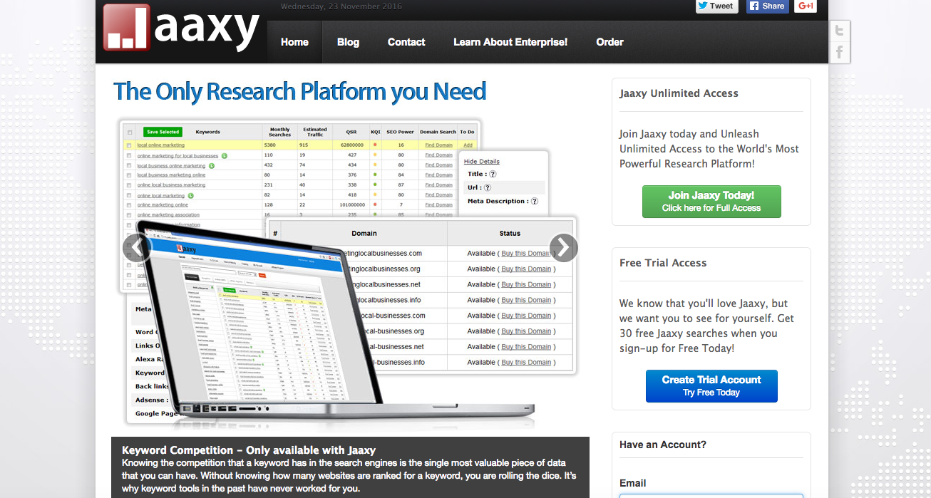 jaaxy keyword research tool