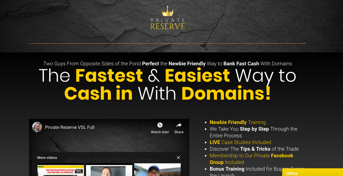 private reserve review make money by flipping domains