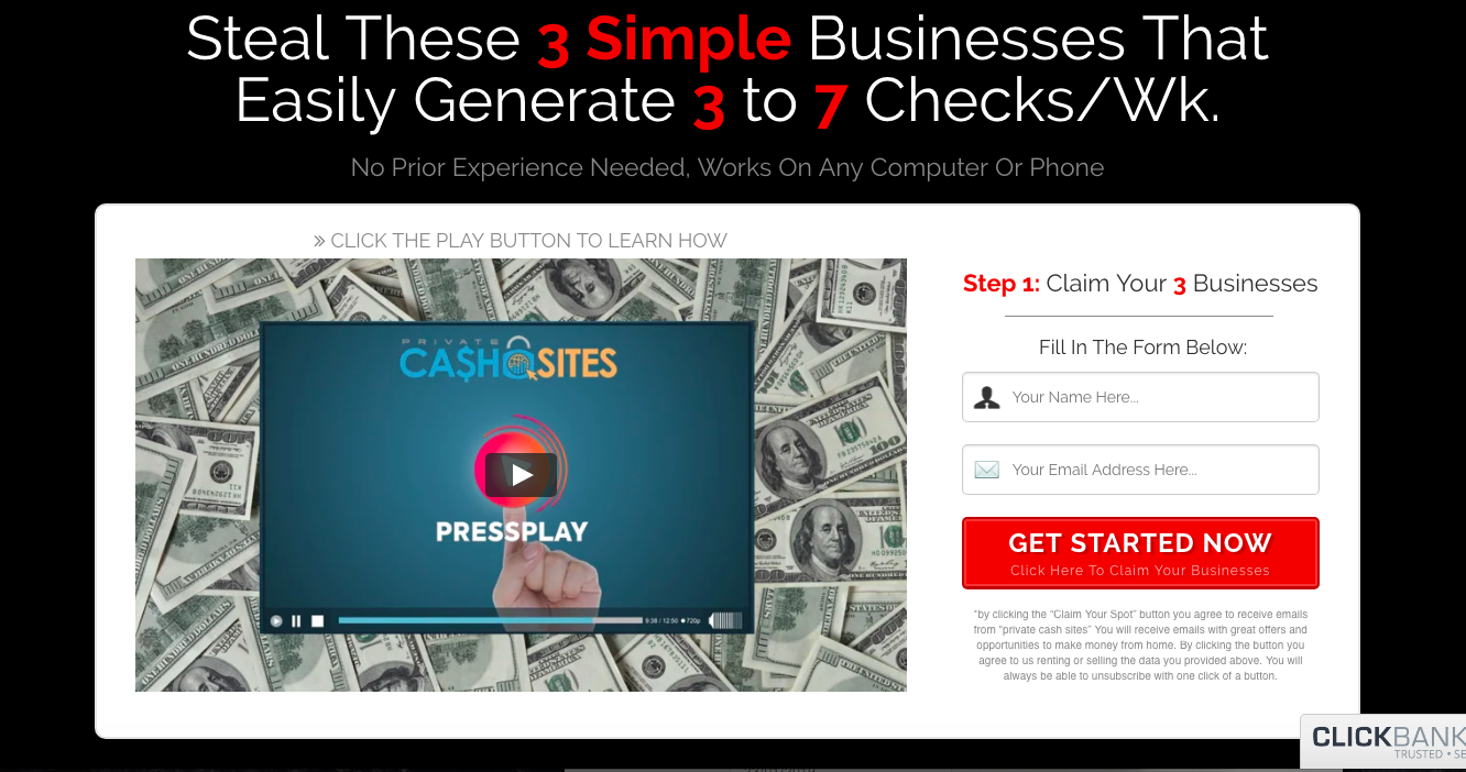 private cash sites review sales page