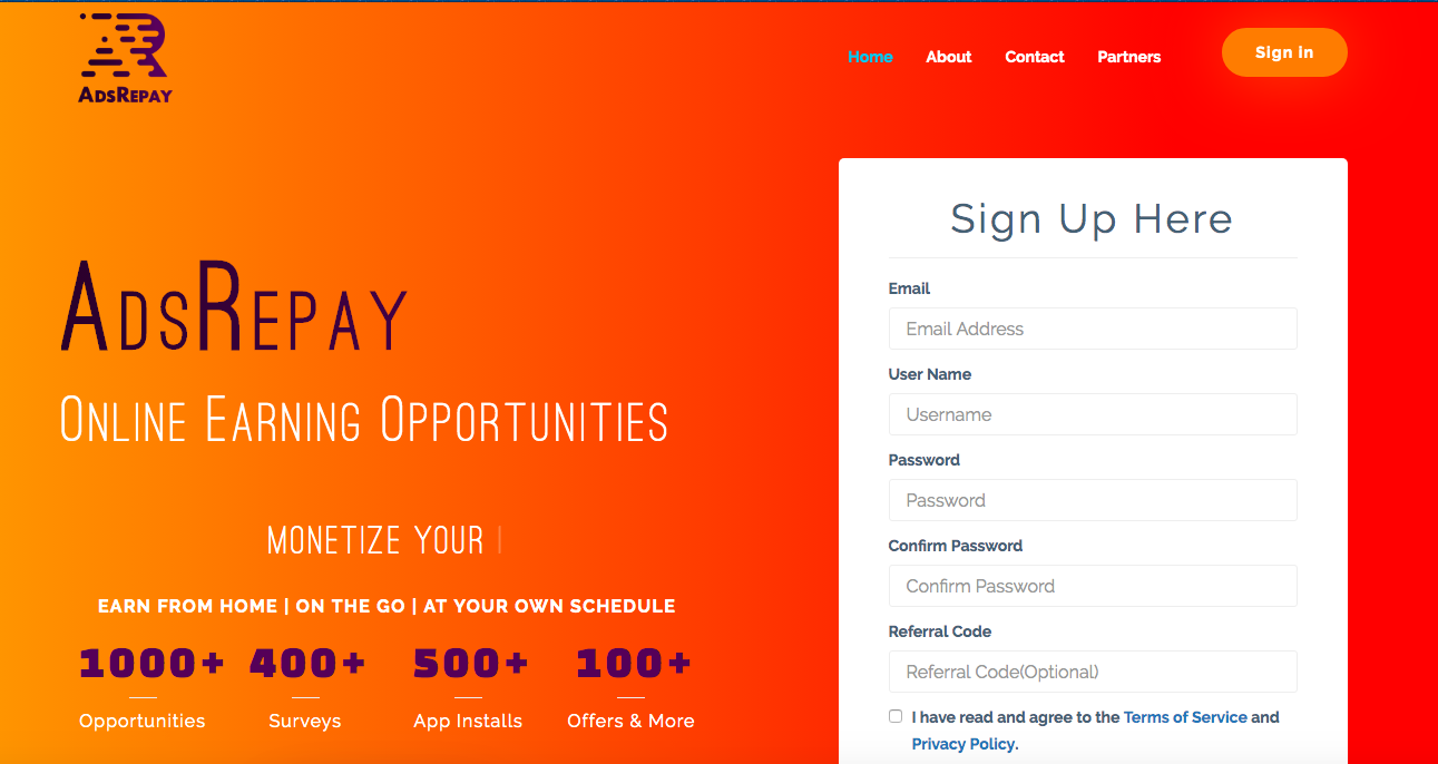 adsrepay.com review home page