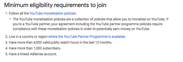 youtube partnership eligibility requirements