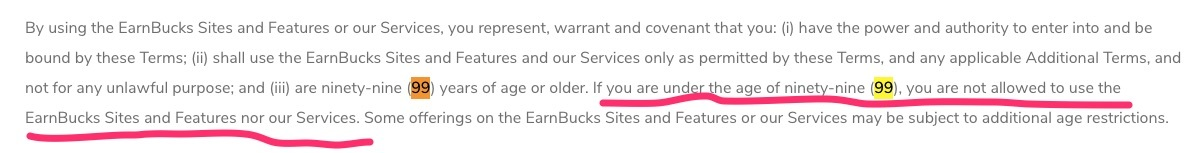 earnbucks.co review - need to be older than 99 years old