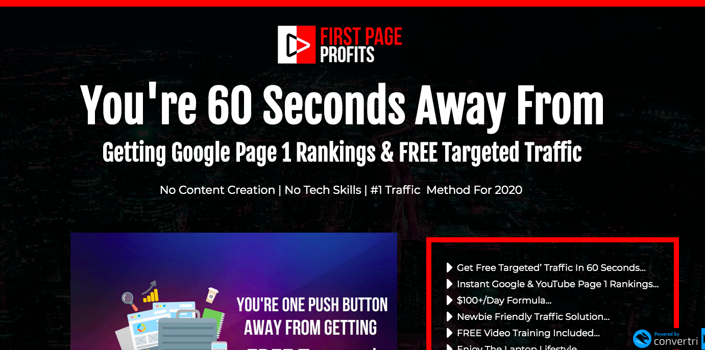 First Page Profits salespage