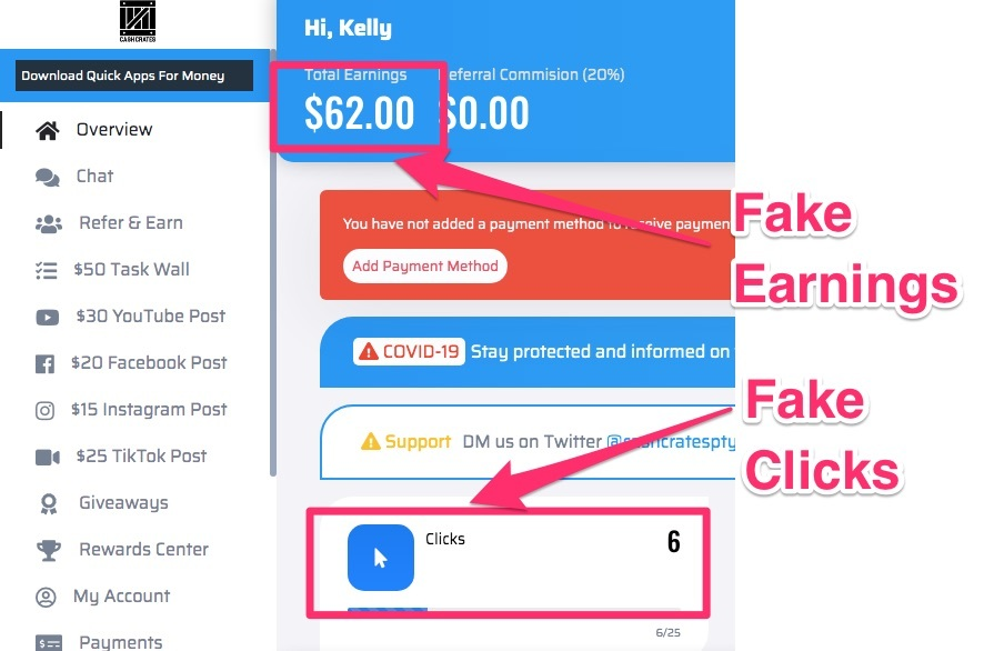 cashcrate.co review fake earnings and fake clicks