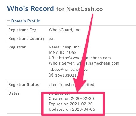 nextcash review who is domain