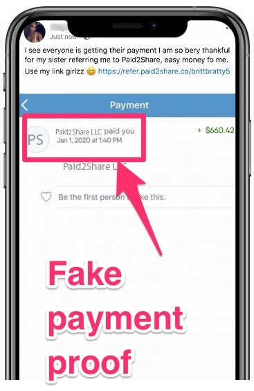 paid2share review - fake payment proof