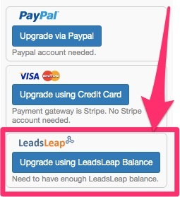 pay for leadsleap membership with your LL balance